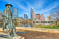 We capture this image of Stevie Ray Vaughan statue from the hike and bike trail on Ladybird Lake with the latest   high-rise editions to the Austin skyline the Colorado Towers, which now almost  completely block the Frost building from view at this location. This area of the hike and bike trail along Ladybird lake has been a favorite location for many to capture the city and the statue together.  We had an exceptional day with nice skies so we decided to try and capture this photos again, but with the ever changing skyline we will be back again soon.