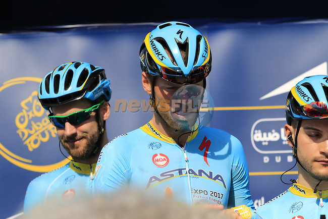 Lars Boom (NED) Astana signs on before the start of Stage 2, the Nakheel Stage, of the 2016 Dubai Tour starting at the Dubai International Marine Club and running 188km to Palm Jumeirah Atlantis, Dubai, United Arab Emirates. 4th February 2016.<br /> Picture: Eoin Clarke | Newsfile<br /> <br /> <br /> All photos usage must carry mandatory copyright credit (&copy; Newsfile | Eoin Clarke)