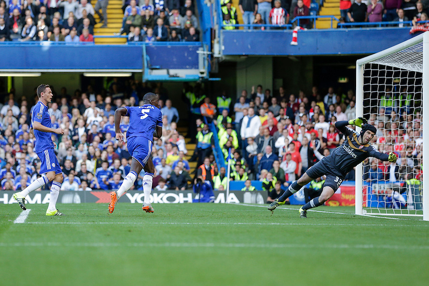 GOAL - Chelsea's Kurt Zouma scores the opening goal past Arsenal's Petr Cech <br /> <br /> Photographer Craig Mercer/CameraSport<br /> <br /> Football - Barclays Premiership - Chelsea v Arsenal - Saturday 19th September 2015 - Stamford Bridge - London<br /> <br /> &copy; CameraSport - 43 Linden Ave. Countesthorpe. Leicester. England. LE8 5PG - Tel: +44 (0) 116 277 4147 - admin@camerasport.com - www.camerasport.com