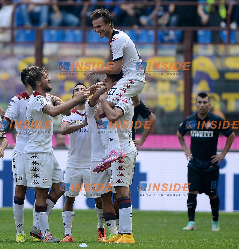 Esultanza gol di Albin Ekdal Cagliari 1-4. Celebration goal<br /> Milano 28-09-2014 Stadio Giuseppe Meazza - Football Calcio Serie A Inter - Cagliari. Foto Giuseppe Celeste / Insidefoto