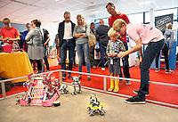 Nederland  Amsterdam  2016 .  Amsterdam Maker Festival. Het Amsterdam Maker Festival maakt onderdeel uit van een nieuw concept ;  Nerderlands. Het doel van het festival is om Makers in contact te brengen met het grote publiek en elkaar te laten zien hoe leuk en nuttig Maken is. Een jongen krijgt uitgelegd hoe je een robot laat lopen.  Foto Berlinda van Dam / Hollandse Hoogte