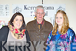 Rosealeen Higgins, Joe Martin and Kim Pryal enjoying the Kerry Drama Festival in the Ivyleaf theatre Castleisland on Sunday night ..