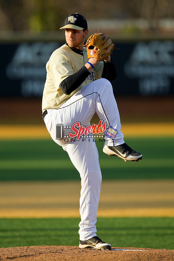 Wake Forest Demon Deacons starting pitcher Austin Stadler (9) in action against the North Carolina State Wolfpack at Wake Forest Baseball Park on March 15, 2013 in Winston-Salem, North Carolina.  The Wolfpack defeated the Demon Deacons 12-6.  (Brian Westerholt/Sports On Film)