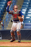 Catcher Hunter Oliver (8) of Cleveland High School in McDonald, Tennessee playing for the Chicago Cubs scout team during the East Coast Pro Showcase on July 30, 2015 at George M. Steinbrenner Field in Tampa, Florida.  (Mike Janes/Four Seam Images)