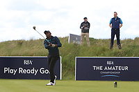 Samuel Chege (Kenya) on the 1st tee during Round 1 of the The Amateur Championship 2019 at The Island Golf Club, Co. Dublin on Monday 17th June 2019.<br /> Picture:  Thos Caffrey / Golffile<br /> <br /> All photo usage must carry mandatory copyright credit (© Golffile | Thos Caffrey)