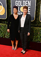Susan Sarandon &amp; activist Rosa Clemente at the 75th Annual Golden Globe Awards at the Beverly Hilton Hotel, Beverly Hills, USA 07 Jan. 2018<br /> Picture: Paul Smith/Featureflash/SilverHub 0208 004 5359 sales@silverhubmedia.com