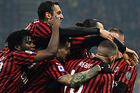 Zlatan Ibrahimovic of AC Milan (R) celebrates with team mates after scoring the goal of 0-2 <br /> Milano 09/02/2020 Stadio San Siro <br /> Football Serie A 2019/2020 <br /> FC Internazionale - AC Milan <br /> Photo Andrea Staccioli / Insidefoto