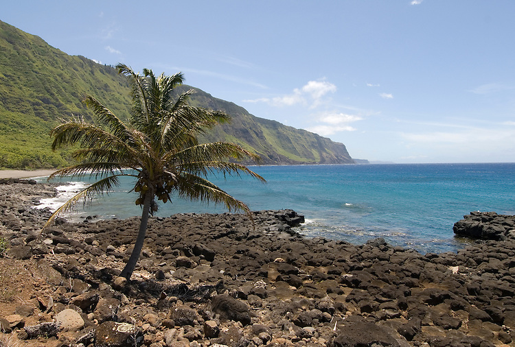 Hawaii: Molokai, scenic view of cliffs and ocean from Kalaupapa..Photo himolo122-72288.Photo copyright Lee Foster, www.fostertravel.com, lee@fostertravel.com, 510-549-2202