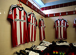 Shirts hang in the away dressing room during the English League One match at Glanford Park Stadium, Scunthorpe. Picture date: September 24th, 2016. Pic Simon Bellis/Sportimage