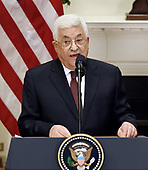 President Mahmoud Abbas of the Palestinian Authority  speaks in the Roosevelt Room  of the White House in Washington, DC, on May 3, 2017. <br /> Credit: Olivier Douliery / Pool via CNP