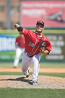 Richmond Flying Squirrels relief pitcher Pedro Rodriguez (50) delivers a pitch to the plate against the Bowie Baysox at The Diamond on May 24, 2015 in Richmond, Virginia.  The Flying Squirrels defeated the Baysox 5-2.  (Brian Westerholt/Four Seam Images)