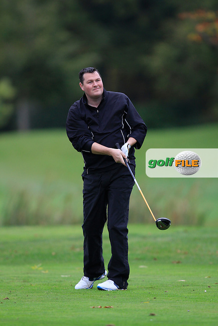 Brian Kerley (Green Life Golf Centre) on the 15th tee during Round 4 of The Cassidy Golf 103rd Irish PGA Championship in Roganstown Golf Club on Sunday 13th October 2013.<br /> Picture:  Thos Caffrey / www.golffile.ie