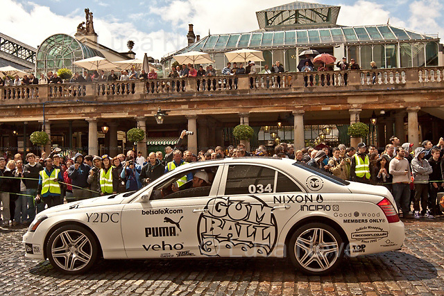 "London, 26/05/2011. Over one hundred expensive ""bolides"" gathered in Covent Garden to attend the start of the rally that, on a 3000 miles journey, will cross 10 different countries to end in Istanbul. Among the participants and some celebrities present is David Hasselhoff, who famously played Michael Knight in the 1980's TV series Knight Rider."