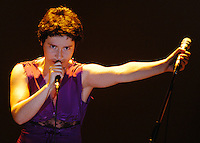 Manuela Azevedo, performing with her group, Cla.