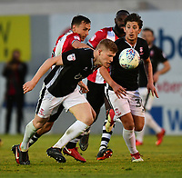 Lincoln City's Elliott Whitehouse vies for possession with Exeter City's Jordan Tillson<br /> <br /> Photographer Chris Vaughan/CameraSport<br /> <br /> The EFL Sky Bet League Two Play Off Second Leg - Exeter City v Lincoln City - Thursday 17th May 2018 - St James Park - Exeter<br /> <br /> World Copyright &copy; 2018 CameraSport. All rights reserved. 43 Linden Ave. Countesthorpe. Leicester. England. LE8 5PG - Tel: +44 (0) 116 277 4147 - admin@camerasport.com - www.camerasport.com