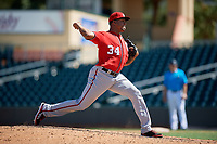 Washington Nationals pitcher Jhonatan German (34) during an Instructional League game against the Miami Marlins on September 25, 2019 at Roger Dean Chevrolet Stadium in Jupiter, Florida.  (Mike Janes/Four Seam Images)