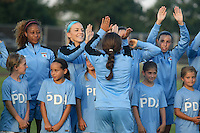 Piscataway, NJ - Saturday Aug. 27, 2016: Casey Short, Julie Johnston, Vanessa DiBernardo prior to a regular season National Women's Soccer League (NWSL) match between Sky Blue FC and the Chicago Red Stars at Yurcak Field.