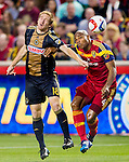 Philadelphia Union forward Fernando Aristeguieta (18) and Real Salt Lake defender Jamison Olave (4) head the ball in the first half Saturday, March 14, 2015, during the Major League Soccer game at Rio Tiinto Stadium in Sandy, Utah. (© 2015 Douglas C. Pizac)
