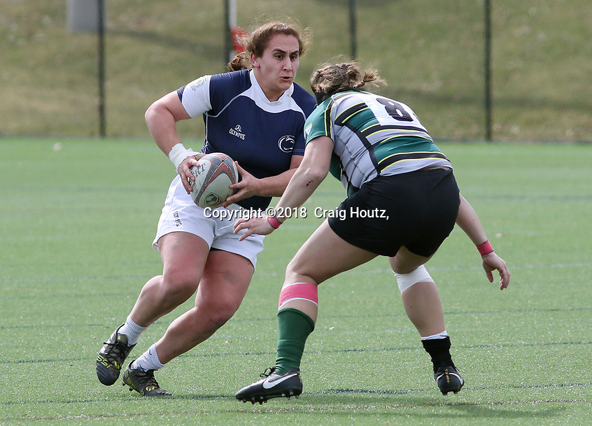 Penn State women's rugby Azniv Nalbandian against Allegheny All Stars women's rugby on March 31, 2018.  Photo/© 2018 Craig Houtz
