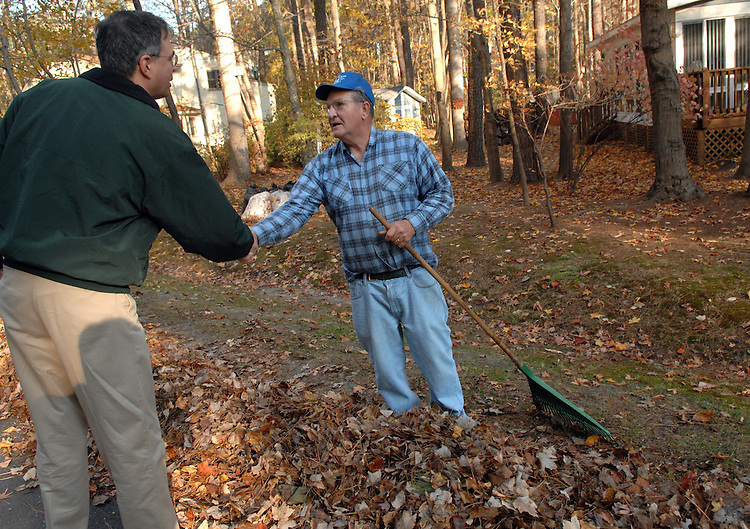 Candidate Andy Harris, R-1st/MD, greets Richard Kolanowski while campaigning door to door in Ocean Pines, Maryland.