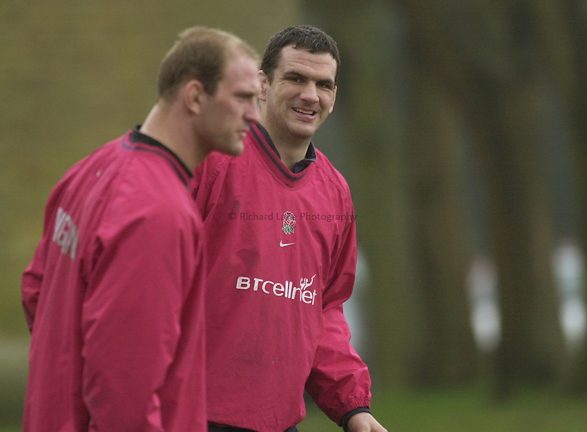 Photo:Ken Brown .28.2.2001 England Rugby Squad training at Sandhurst.Captain Martin Johnson and Lawrence Dallaglio share a moment