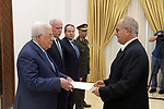 Palestinian President Mahmoud Abbas receives the credentials of the Ambassador of Portugal to the State of Palestine, in the West Bank city of Ramallah, August 01, 2019. Photo by Thaer Ganaim