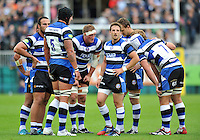 Bath players look on during a break in play. Pre-season friendly match, between Bath Rugby and Bristol Rugby on August 17, 2013 at the Recreation Ground in Bath, England. Photo by: Patrick Khachfe / Onside Images