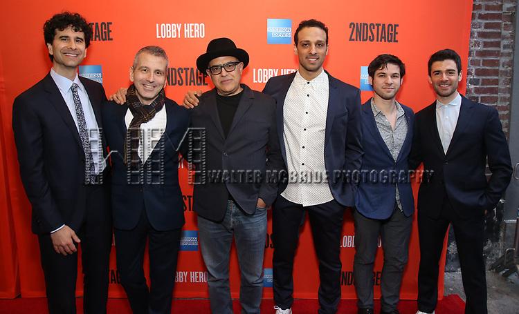 "John Cariani, David Cromer, David Yazbek, Ari'el Stachel, Etai Benson and Adam Kantor attending the Broadway Opening Night Performance of  ""Lobby Hero"" at The Hayes Theatre on March 26, 2018 in New York City."