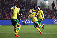 James Maddison of Norwich City celebrates getting the only goal of the game during Bristol City vs Norwich City, Sky Bet EFL Championship Football at Ashton Gate on 13th January 2018