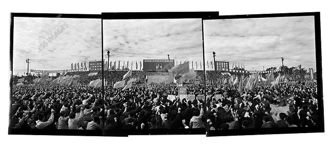 "Several hundred thousand people attend a ""Learning and Applying Mao Zedong Thought"" rally in Red Guard Square. Harbin, Heilongjiang Province, September 13, 1966."