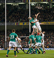 Saturday 2nd February 2019 | Ireland vs England<br /> <br /> Devin Toner disrupts this English lineout during the opening Guinness 6 Nations clash between Ireland and England at the Aviva Stadium, Lansdowne Road, Dublin, Ireland.  Photo by John Dickson / DICKSONDIGITAL