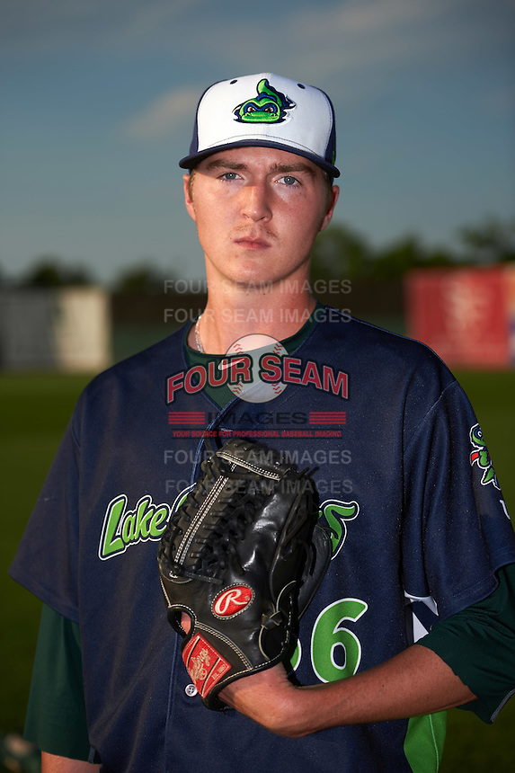 Vermont Lake Monsters pitcher Nolan Blackwood (36) poses for a photo before a game against the Auburn Doubledays on July 12, 2016 at Falcon Park in Auburn, New York.  Auburn defeated Vermont 3-1.  (Mike Janes/Four Seam Images)