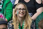 05.08.2017, Weserstadion, Bremen, GER, FSP, SV Werder Bremen (GER) vs FC Valencia (ESP)<br /> <br /> im Bild<br /> weiblicher Werder Fan mit aufgemalten Raute auf der Backe auf Tribüne, <br /> <br /> Foto © nordphoto / Ewert