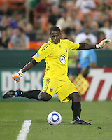 Bill Hamid #28 of D.C. United  hita a goal kick up field during an MLS match against Chivas USA at RFK Stadium, on May 29 2010 in Washington DC. United won 3-2.
