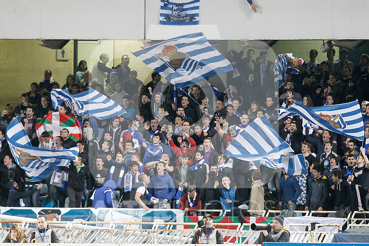 Real Sociedad's supporters during La Liga match. April 9,2016. (ALTERPHOTOS/Acero)
