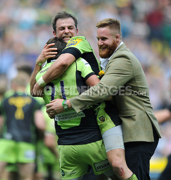 Lee Dickson, Stephen Myler and GJ van Velze celebrate at the final whistle. Aviva Premiership Final, between Saracens and Northampton Saints on May 31, 2014 at Twickenham Stadium in London, England. Photo by: Patrick Khachfe / JMP