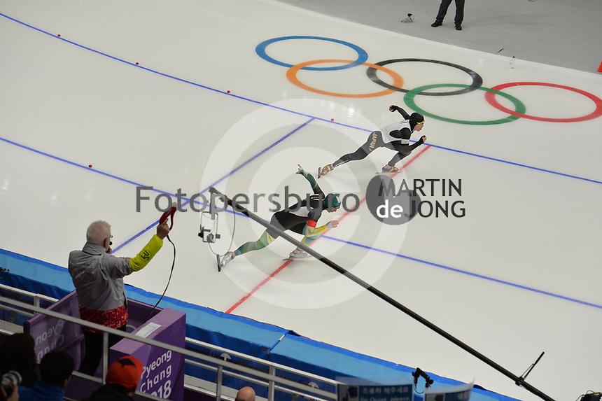 OLYMPIC GAMES: PYEONGCHANG: 19-02-2018, Gangneung Oval, Long Track, 500m Men, Daniel Greig (AUS), Tsubasa Hasegawa (JPN), ©photo Martin de Jong