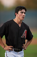 AZL D-backs Corbin Carroll (2) between innings of an Arizona League game against the AZL Angels on July 20, 2019 at Salt River Fields at Talking Stick in Scottsdale, Arizona. The AZL Angels defeated the AZL D-backs 11-4. (Zachary Lucy/Four Seam Images)