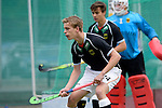 GER - Mannheim, Germany, May 16: During the whitsun tournament boys hockey match between Germany (black) and The Netherlands (orange) on May 16, 2016 at Mannheimer HC in Mannheim, Germany. Final score 4-3 (HT 2-0). (Photo by Dirk Markgraf / www.265-images.com) *** Local caption *** Christopher Kutter #24 of Germany (U16)