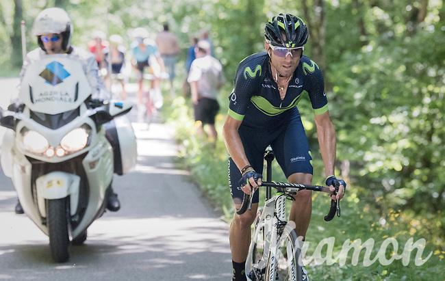 Alejandro Valverde (ESP/Movistar) breaking free from the peloton &amp; trying to close the gap with the riders further up the Mont du Chat (HC/1504m/8.7km/10.3%)<br /> <br /> Stage 6: Le parc des oiseaux/Villars-Les-Dombes &rsaquo; La Motte-Servolex (147km)<br /> 69th Crit&eacute;rium du Dauphin&eacute; 2017