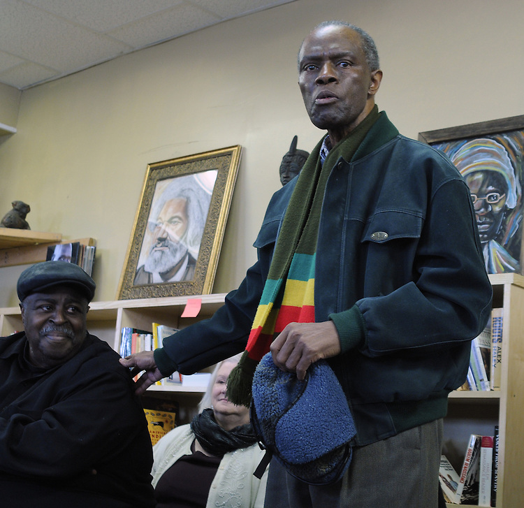 A.J. Williams-Myers, speaking at the Naming Ceremony Event, at the A.J. Williams-Myers African Roots Community Center, at 43 Gill Street, in Kingston, NY, on Saturday, February 18, 2017. Photo by Jim Peppler; Copyright Jim Peppler 2017