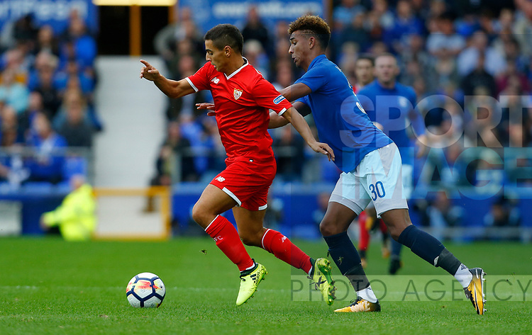 Everton's Mason Holgate in action with Sevilla's Wissam Ben Yedder during the pre season friendly match at Goodison Park Stadium, Liverpool. Picture date 6th August 2017. Picture credit should read: Paul Thomas/Sportimage