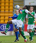 St Johnstone v Hibs....05.03.11 .Francis Dickoh battles with Peter MacDonald.Picture by Graeme Hart..Copyright Perthshire Picture Agency.Tel: 01738 623350  Mobile: 07990 594431