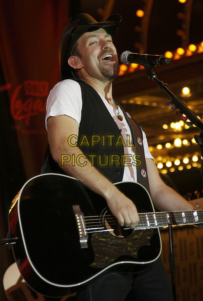 KRISTIAN BUSH of Sugarland.and Kristian Bush of 'Sugarland'. Sugarland Performs downtown at the Fremont Street Experience, Las Vegas, Nevada, USA, .17 May 2008..half  length band live music on stage concert gig black cowboy hat guitar.CAP/ADM/MJT.©MJT/Admedia/Capital Pictures