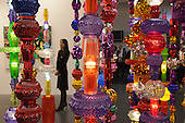 27 February 2014, London, United Kingdom. Pictured: Alchemy 2014 by Choi Jeong Hwa (b. 1961), LED lights, plastic bowls, steel structure. The Art14 Art Fair at Olympia Grand Hall, London, opens its doors to the public from 28 February to 2 March 2014. Art14 London features 180 galleries from 40 countries with works from emerging talents to modern masters.