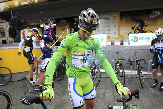 Peter Sagan (SVK) Cannondale with new helmet design at sign on in Ypres before the start of the cobbled stage Stage 5 of the 2014 Tour de France running 155.5km from Ypres to Arenberg. 9th July 2014.<br /> Picture: Eoin Clarke www.newsfile.ie
