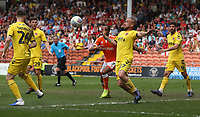 Fleetwood Town's Paddy Madden clears from Blackpool's Nathan Delfouneso<br /> <br /> Photographer Stephen White/CameraSport<br /> <br /> The EFL Sky Bet League One - Blackpool v Fleetwood Town - Monday 22nd April 2019 - Bloomfield Road - Blackpool<br /> <br /> World Copyright © 2019 CameraSport. All rights reserved. 43 Linden Ave. Countesthorpe. Leicester. England. LE8 5PG - Tel: +44 (0) 116 277 4147 - admin@camerasport.com - www.camerasport.com