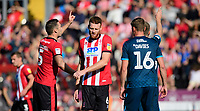 Lincoln City's Jason Shackell, left, and Lincoln City's Cian Bolger<br /> <br /> Photographer Chris Vaughan/CameraSport<br /> <br /> The EFL Sky Bet League One - Lincoln City v Bristol Rovers - Saturday 14th September 2019 - Sincil Bank - Lincoln<br /> <br /> World Copyright © 2019 CameraSport. All rights reserved. 43 Linden Ave. Countesthorpe. Leicester. England. LE8 5PG - Tel: +44 (0) 116 277 4147 - admin@camerasport.com - www.camerasport.com