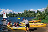 Burnaby, BC, British Columbia, Canada - People canoeing and sailing on Deer Lake, Deer Lake Park, Boat Rental, Boats for Rent, Summer