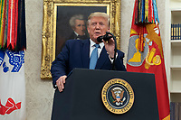 United States President Donald J. Trump makes remarks during the ceremony presenting the Presidential Medal of Freedom to former US Attorney General Edwin Meese at the White House in Washington, DC, October 8, 2019. Meese served from 1985 to 1988 under US President Ronald Reagan. Credit: Chris Kleponis / Pool via CNP /MediaPunch